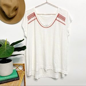 LOFT Vintage Soft Cap Sleeve Tee Red Embroidered